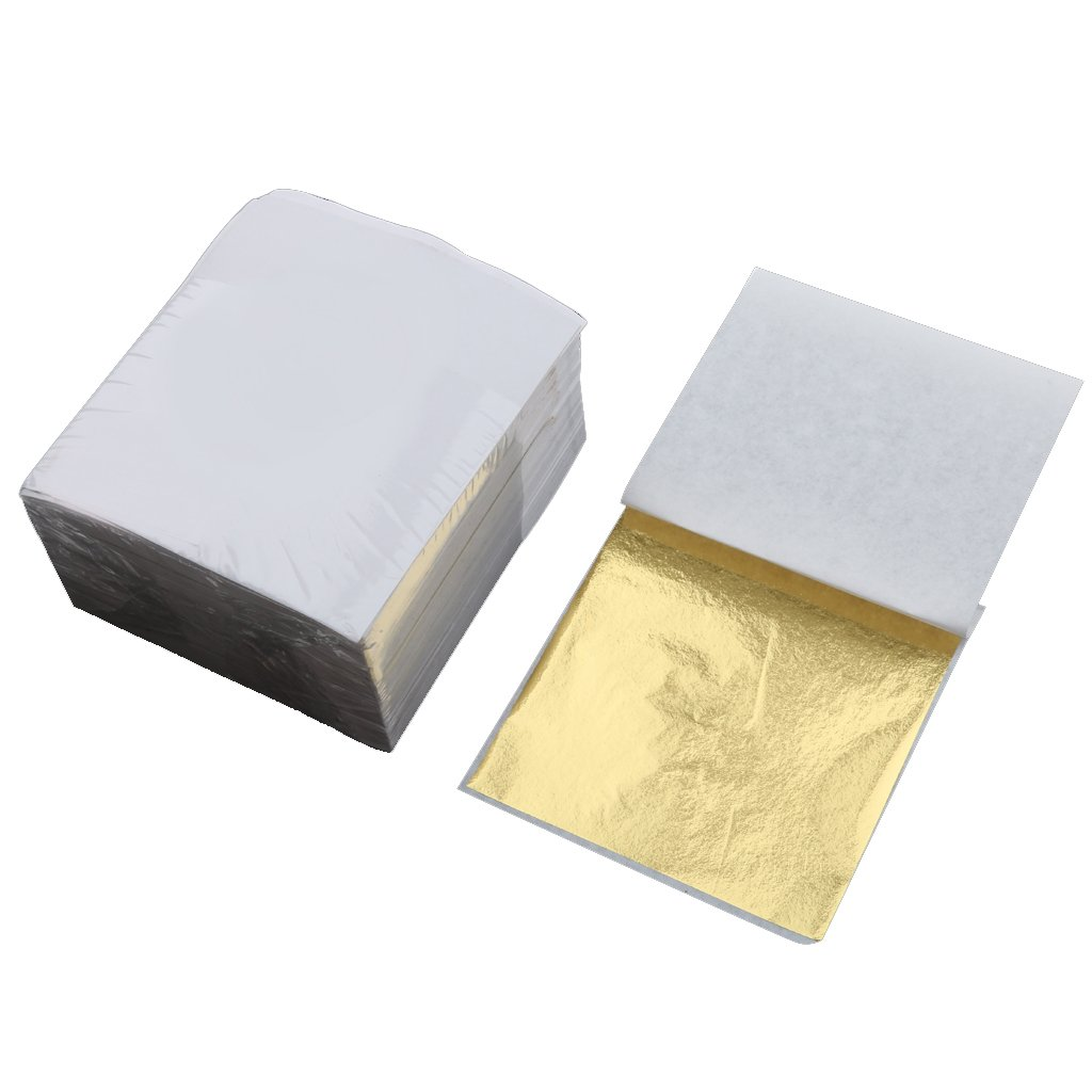 Silver Gold Leaf Foil Wrapping Paper Gilding for Hotel Upholstery Home Ceiling Wall Decoration 9x9 cm Pack of 500 Golden