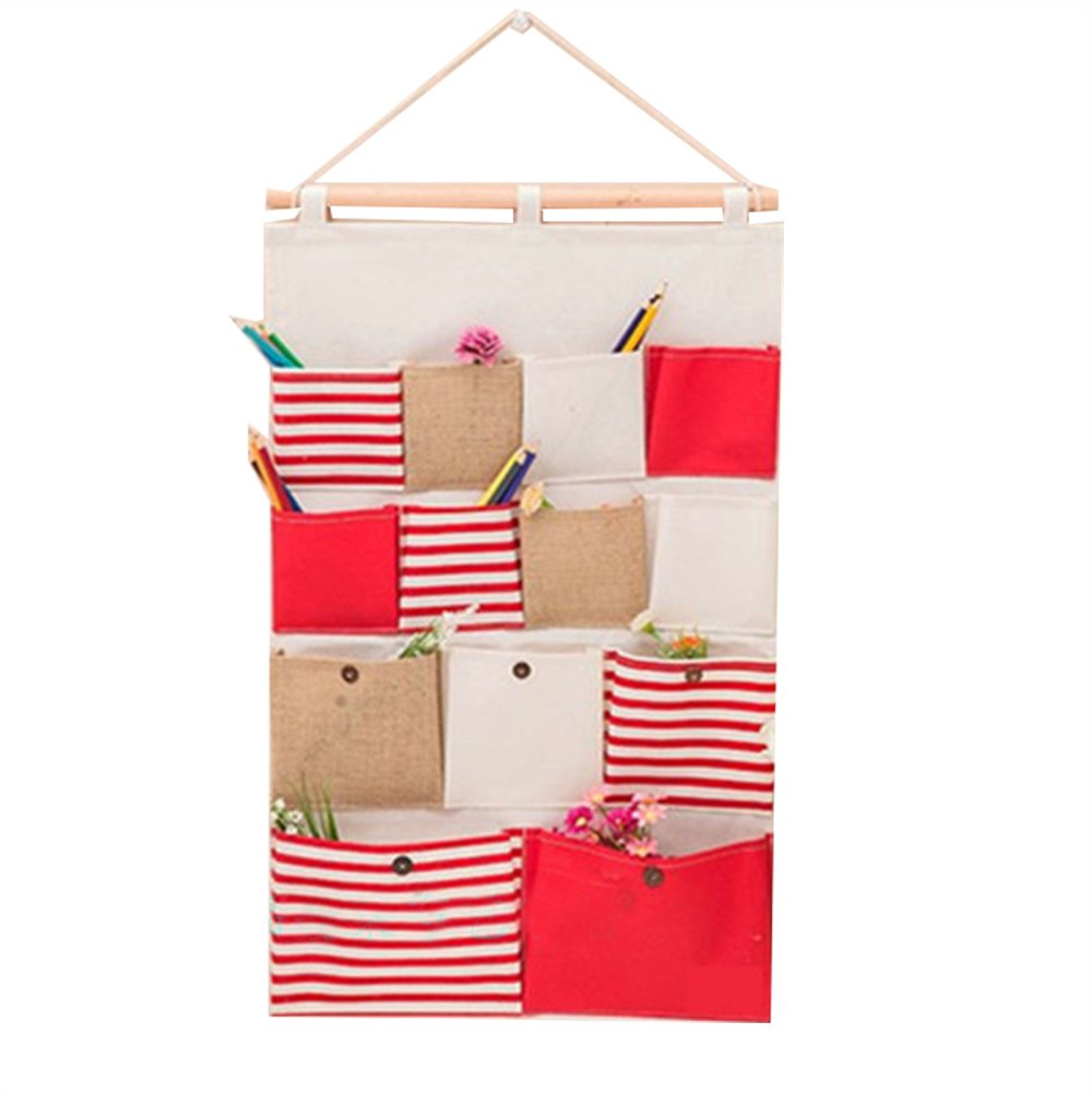 NATIVEDEN STORAGE Multilayer Nonwoven Fabric Pouch Debris Wall Door Closet Hanging Storage Bag Organizer Storage Multifunctional Room Bedroom Bath Organizer Space Saver Gift Red 13Pockets 28.1x17.7In