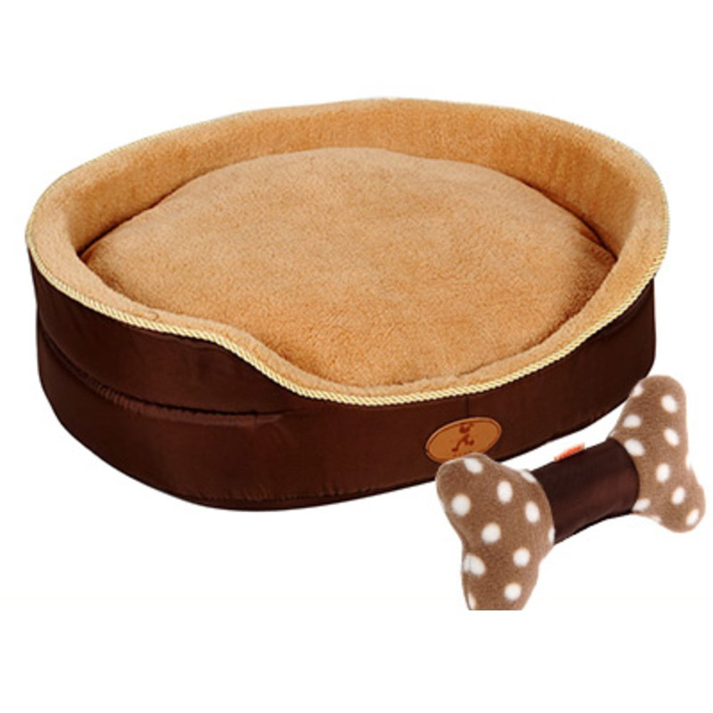 Deluxe soft reversible pet dog bed with bed cushion, Washable Pet basket Pet nest Pet bolster bed-B M 65x50x18cm(26x20x7inch)
