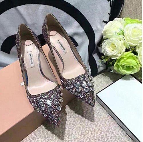 scarpe Qiqi da a singola femmina tacco strass da punta scarpe fine scarpe Xue sposa alti tacchi argento bright color con scarpe wedding femmina matrimonio 38 UxqdnfURw8