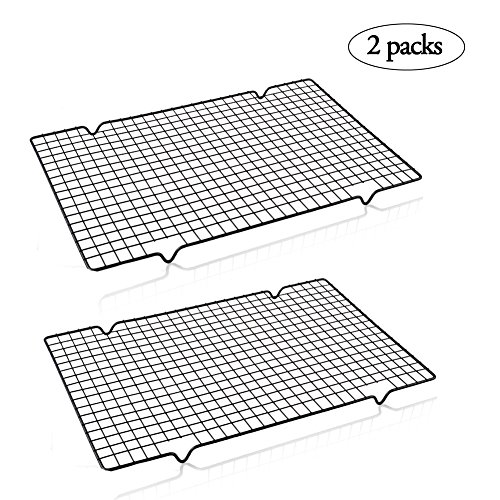 2 PCS 10 x 16 inches Nonstick Cooling Rack Baking Rack For Cookies, Pies And Cakes Bakeware Baking, Cooling , Oven Roasting, Broiler Rack by WENXIU