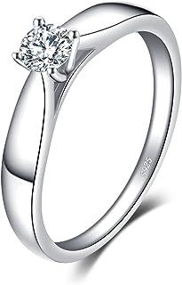 JewelryPalace 0.2ct Cubic Zirconia Anniversario Solitario Fidanzamento Anello 925 Sterling Argento