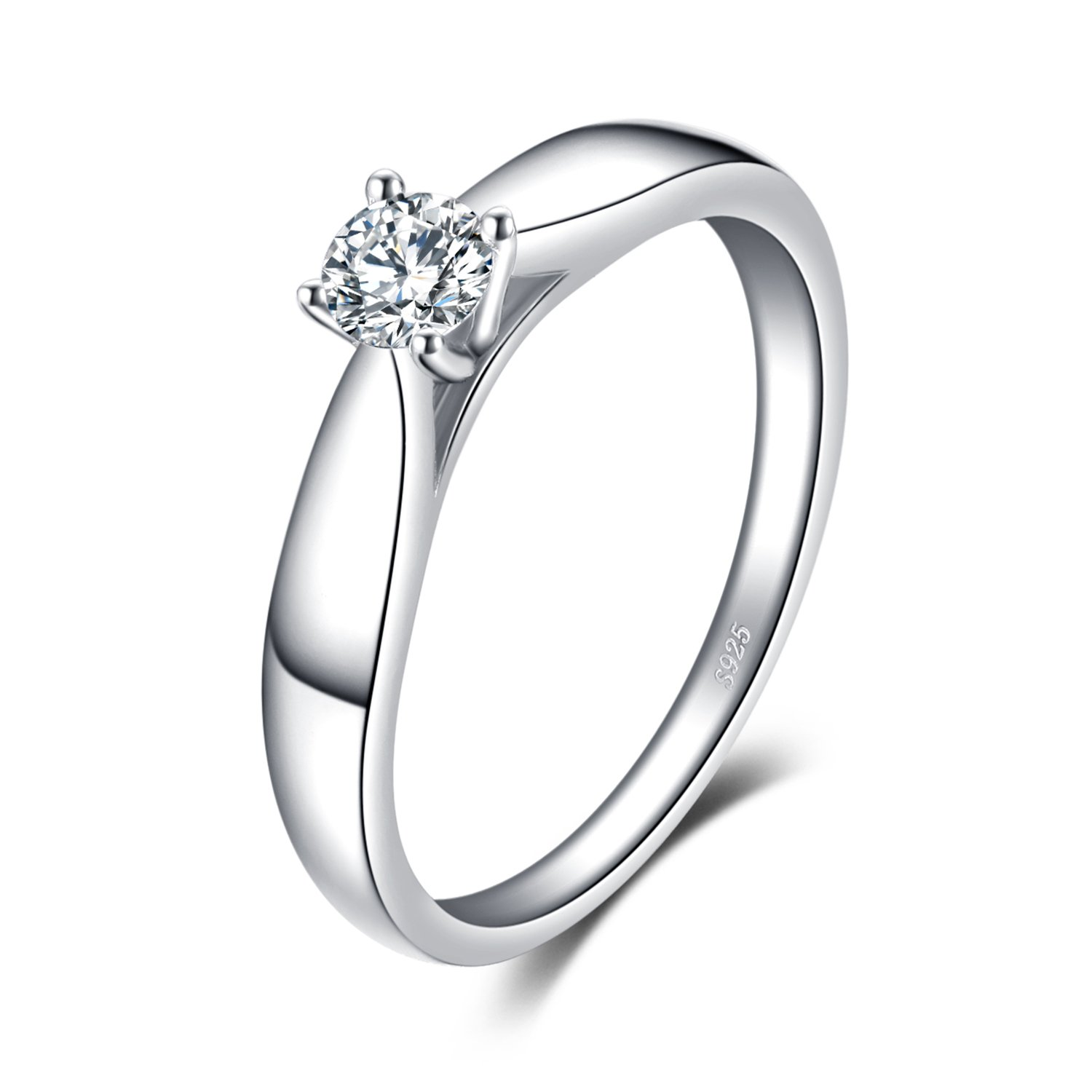 JewelryPalace 0.2ct Cubic Zirconia Anniversary Solitaire Engagement Ring 925 Sterling Silver CA-BR477199
