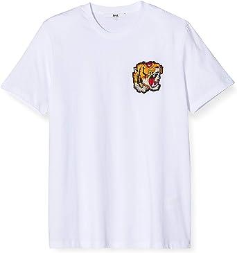 Marca Amazon - find. Camiseta con Detalle Bordado para Hombre, Blanco (White), S, Label: S: Amazon.es: Ropa y accesorios