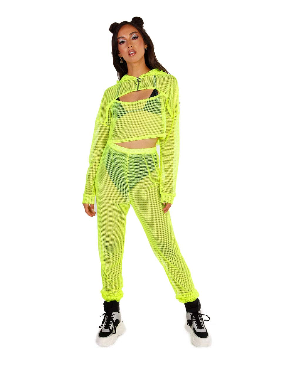 iHeartRaves Neon Yellow Trinity Fishnet 2 Piece Jogger Set (Plus Size 2X) by iHeartRaves