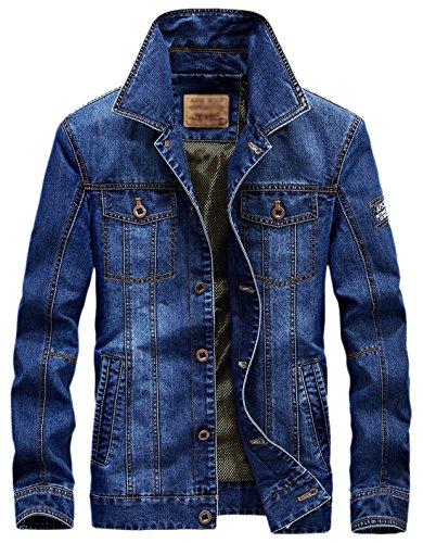 Rugged Men's Classic Chouyatou Jacket Trucker Button Front Blue Mediumweight Denim qERxndSwx5