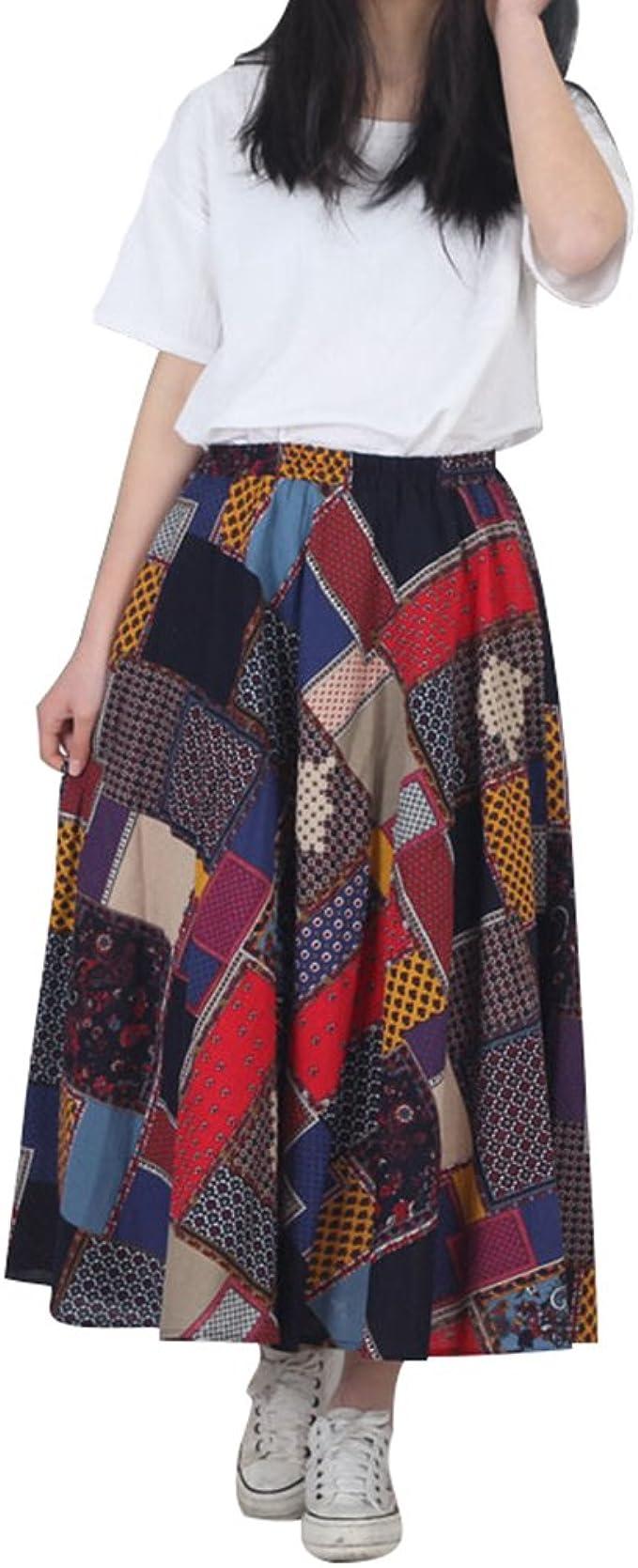 NiSeng Mujer Maxi Faldas Etnicas Largas Falda Larga Vintage Falda ...