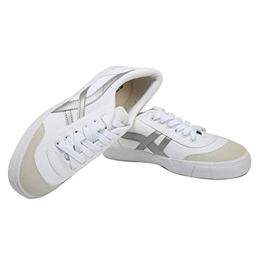 066497b9b HuiLi(warrior) Unisex Casual Canvas Shoes Women Low Cut Lace up Flat  Sneaker White