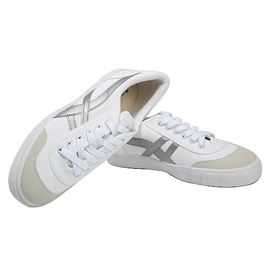 660c19d56 HuiLi(warrior) Unisex Casual Canvas Shoes Women Low Cut Lace up Flat  Sneaker White