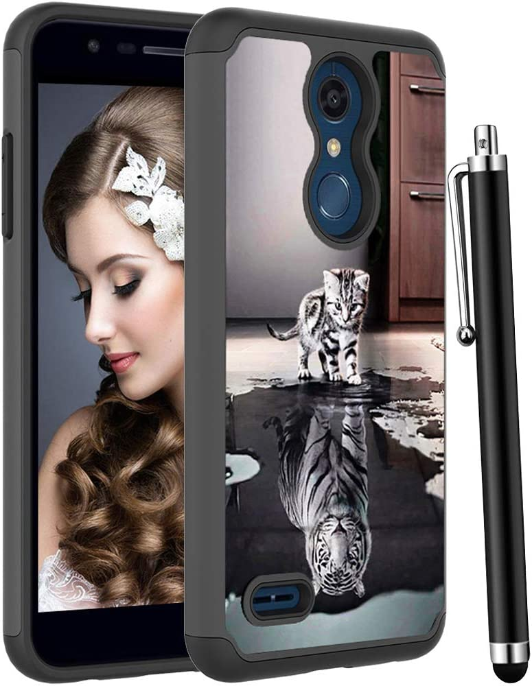 Voanice forLG K30 Case/LG Premier Pro LTE/LG Phoenix Plus/LG K10 2018 for Women Men,Heavy Duty Shockproof Protectiive Silicone Rubber+Hard PC Armor Dual Layer Phone Hybrid Cover&Stylus-Cat and Tiger