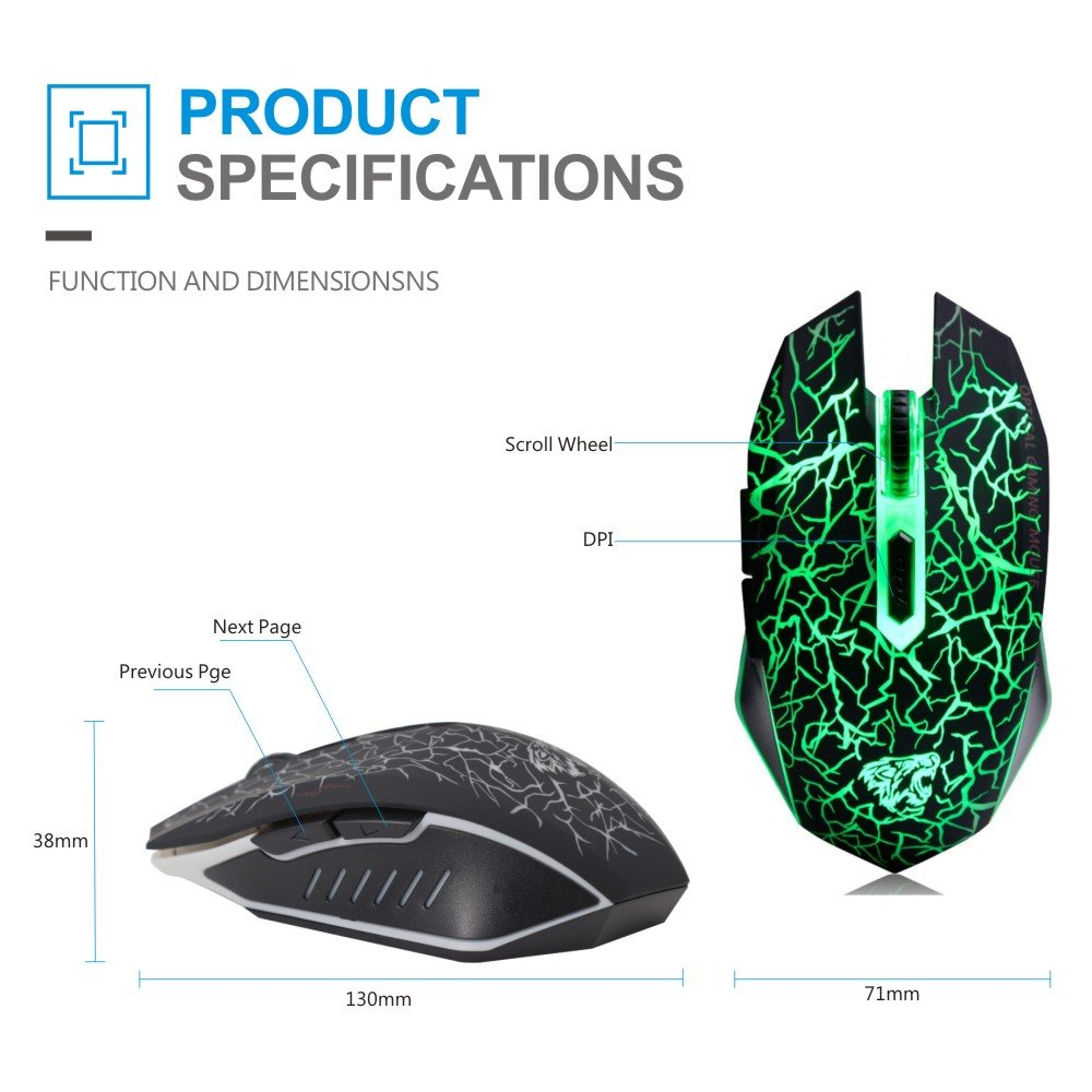 Tenmos M2 Wireless Computer Gaming Mouse Rechargeable Usb Optical Diagram Led Silent With Nano Receiver 6 Buttons For Mac Notebook Desktop Laptop Black