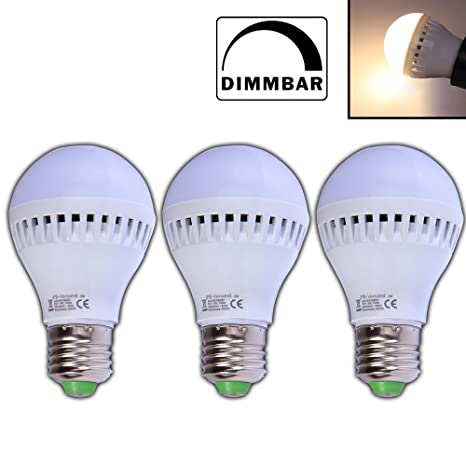 Paquete de 3 bombillas LED de 5W, bombillas E27 de bajo consumo,