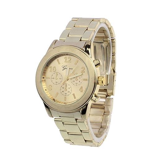 SKY Moda mujer reloj de la aleación Unisex Stainless Steel Quartz Wrist Watch Reloj de pulsera