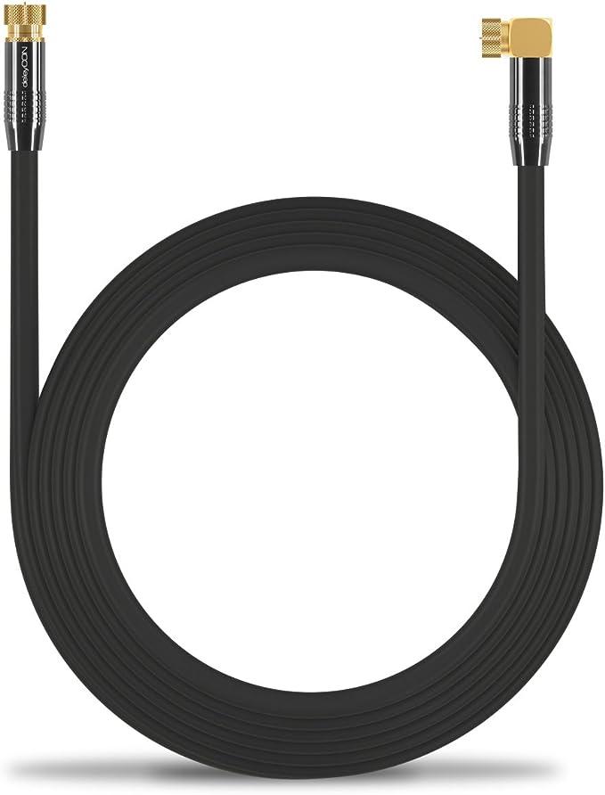 deleyCON 10m Sat Cable de Antena Cable de Satélite Cable Coaxial 100 dB HDTV Full HD - Conector F 90° Grados en Ángulo en Conector F Recto - Conector ...