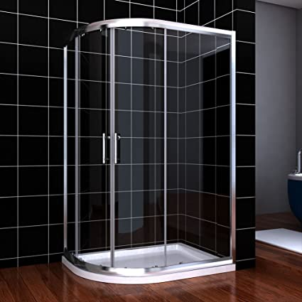 Waste 1200 x 800 mm Left Offset Quadrant Shower Enclosure 6mm Easy Clean Glass Sliding Door Shower Cubicle with Tray