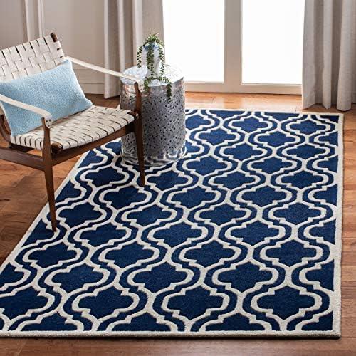 Safavieh Chatham Collection CHT727C Handmade Dark Blue and Ivory Premium Wool Area Rug 8'9″ x 12'