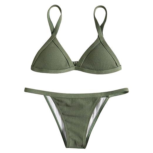 b0fba82d54 Women s Sexy Triangle Bra Thong Bottom Bikini Set Fashion Ribbed Solid  Color Bathing Push-up