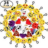 """MelonBoat 36 Pack 2"""" Emoji Plush Keychain Mini Pillows Backpack Clips, Emoticon Poop Emoji Birthday Party Favors Supplies, Goodie Bag Stuffers, Novelty Gifts Toys Prizes for Kids"""