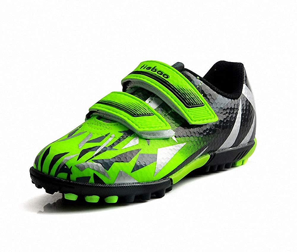 Toddler//Little Kid//Big Kid T/&B Kids Indoor Soccer Shoes Cleats Football Hook and Loop Strap