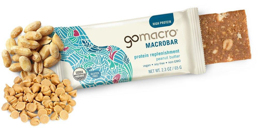 GoMacro MacroBar, Organic Vegan Protein Bar, Peanut Butter, 2.3 oz (Pack of 12)