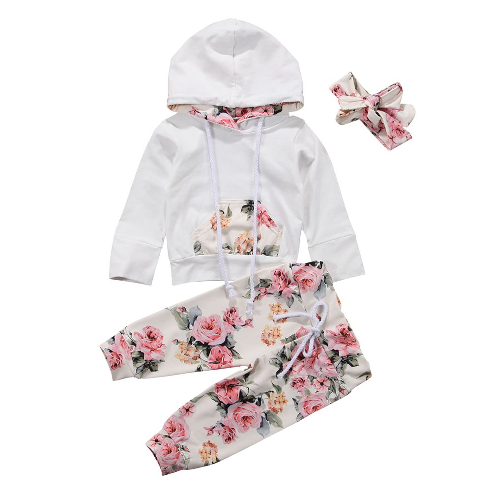 Miwear Baby Girls Floral Long Sleeve Hoodie + Long Pants + Headband Outfits Set