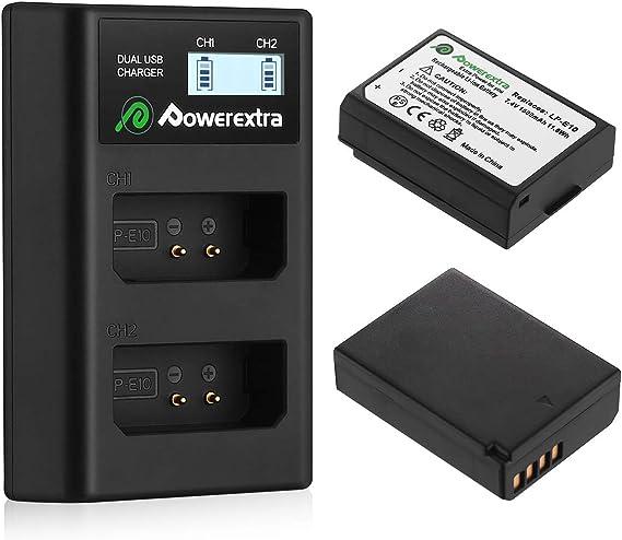Image ofPowerextra - Batería de repuesto para cámara digital Canon LP-E10 y cargador USB dual para Canon EOS Rebel T3, T5, T6, Kiss X50, Kiss X70, EOS 1100D, EOS 1200D, EOS 1300D