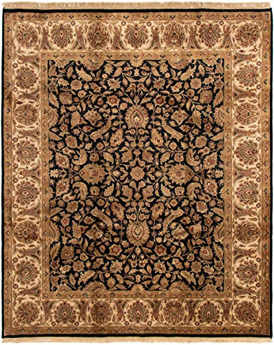 (eCarpet Gallery Large Area Rug for Living Room, Bedroom | Hand-Knotted Wool Rug | Finest Agra Jaipur Bordered Black Rug 8'2