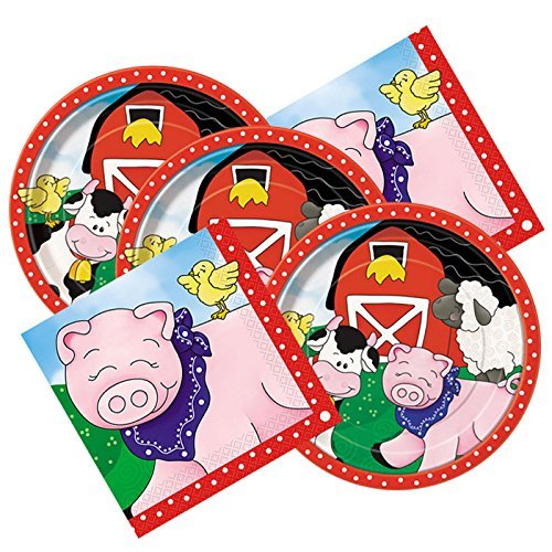 Farm Friends Themed Birthday Party Plates & Napkins Serves 16