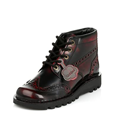 0b57928a9b5 Kickers Mens Dark Red & Black Kick Brogue Leather Boots: Amazon.co.uk: Shoes  & Bags