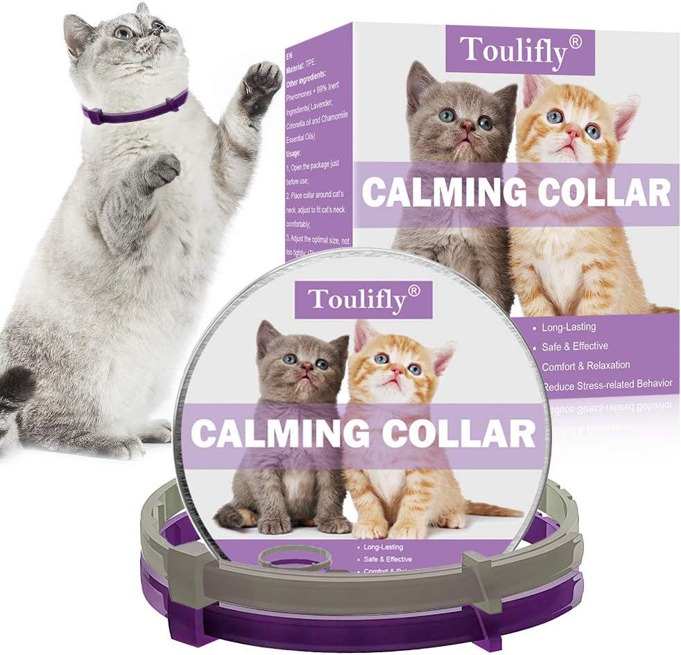 TOULIFLY Collar calmante para gatos, ajustable, alivia la ansiedad, feromona, collar calmante natural de larga duración, seguro y eficaz (2 unidades)