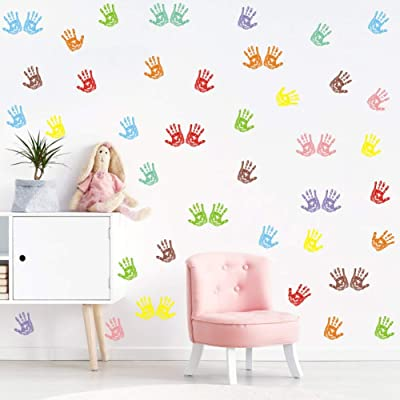 Colorful Handprint Wall Decal, Artistic Primary Color Wall Sticker for Classroom Decoration, Nursery DIY Wall Art (48pcs Multicolor Decals): Arts, Crafts & Sewing