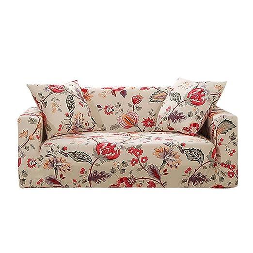 Prosperveil - Fundas de sofá Estampadas de poliéster elástico y Elastano, Fundas para sofá y Muebles, Beige Floral, 2 Seater