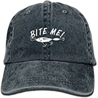 ce777db0142 Bite Me Funny Fishing Vintage Adjustable Denim Hat Trucker Cap ForAdult