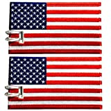 Luggage Tags, USA Flag, Embroidered, 2 Pack, 6 COLORS, NEVER BREAK!