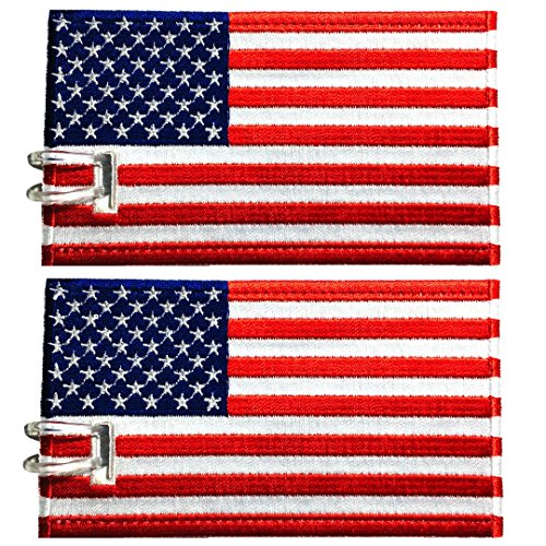 Name Flag Usa (Luggage Tags, USA Flag, Embroidered, 2 Pack, 15 COLORS, NEVER BREAK!)