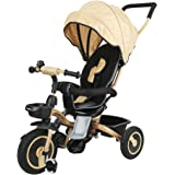 Fascol Folding Tricycle for 6 Months to 5 Years Foldable 3 Wheel Push Trikes Maximum Weight 30 kg, Gold