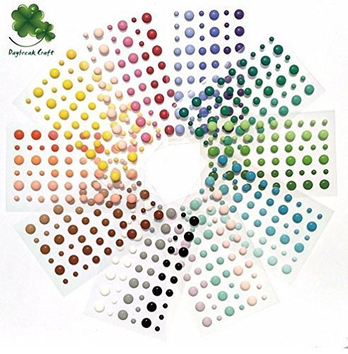 (Pack of 10) 54pcs/pack round assorted size self adhesive enamel dots 30 mix colors