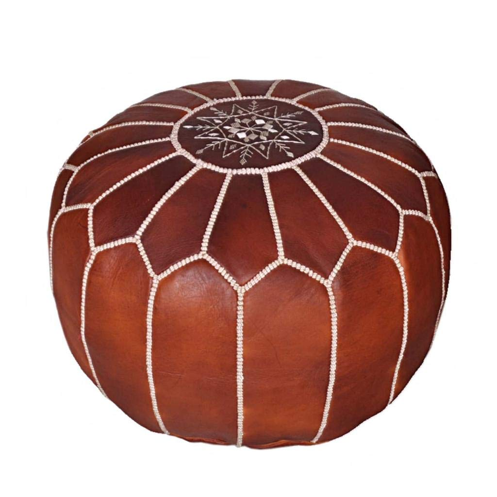Super Moroccan Leather Pouf Handmade Leather Pouffe Luxury Dark Brown Pouf Ottoman Footstool Hassock 100 Real Natural Goat Leather Unstuffed Theyellowbook Wood Chair Design Ideas Theyellowbookinfo