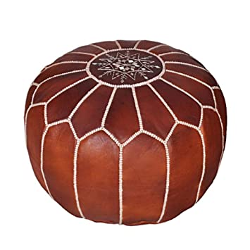 Fabulous Moroccan Leather Pouf Handmade Leather Pouffe Luxury Dark Brown Pouf Ottoman Footstool Hassock 100 Real Natural Goat Leather Unstuffed Machost Co Dining Chair Design Ideas Machostcouk