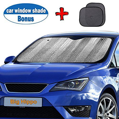 Silver Hippo - Big Hippo Windshield Sun Shade, Car Window Shade as Bonus by Keep Vehicle Cool Protect Your Car from Sun Heat & Glare Best UV Ray Visor Protector (Size: 55.16