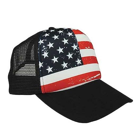 dfe76fe0 Armycrew USA American Flag Foam Adjustable Trucker Mesh Cap - Black Black  at Amazon Men's Clothing store: