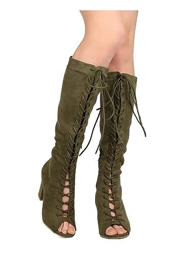 ba80c47044 Wild Diva Women Faux Suede Knee High Peep Toe Lace Up Chunky Heel Boot GC91  -