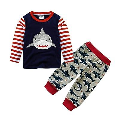 e0b31d982f96 Amazon.com  Hatoys Toddler Boys Shark Print Cartoon Striped Tops ...
