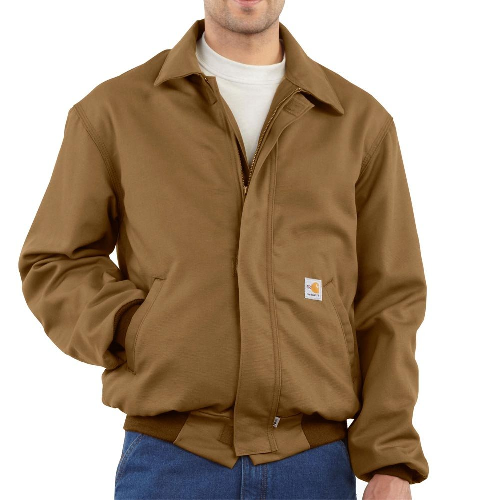 Carhartt Men's Flame Resistant All Season Bomber Jacket,Brown,Small