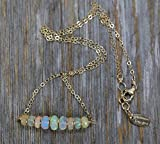 White Ethiopian Opal Gemstone Bar Necklace White Rainbow Stone - 16'' Length