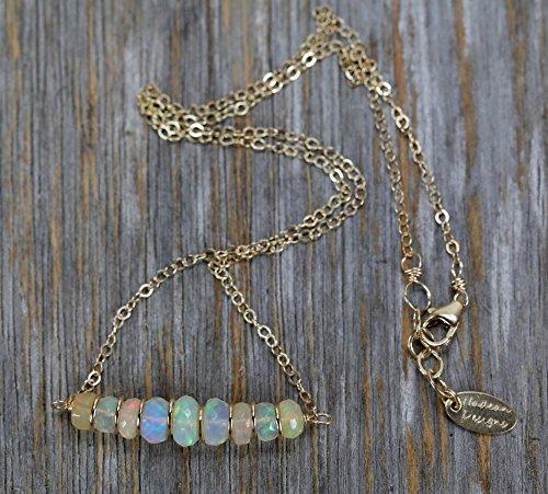 White Ethiopian Opal Gemstone Bar Necklace White Rainbow Stone - 16'' Length by Nadean Designs