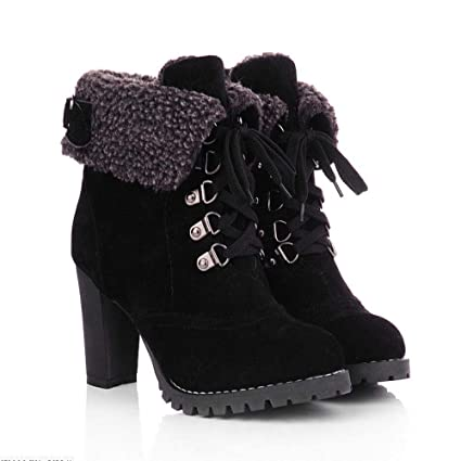 Amazon.com: Respctful_shoes for Women,Woman Chunky Heel s Lace-Up Pumps Puls Plush Short Boots Warm Shoes: Clothing