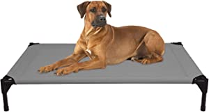 Veehoo Elevated Dog Bed, Portable Raised Pet Cot, Waterproof & Breathable Mat, Durable Textilene Mesh Fabric, No-Slip Feet, Indoor or Outdoor Use