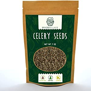 Spices Village Celery Seeds, Kosher Certified, All Natural Whole Spices for Cooking, Fresh Dried Celery Seasoning, Pickling Spices for Canning, Gluten Free, Non GMO, Resealable Bulk Bag 7 Oz