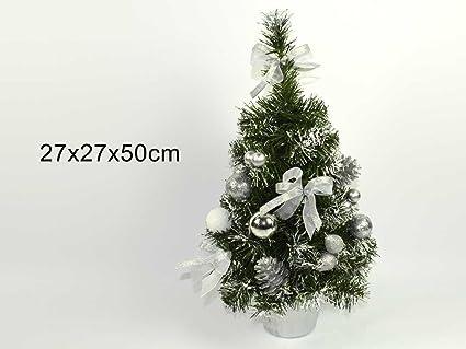 Albero Di Natale 50 Cm.Pino Abete Albero Di Natale Innevato 50 Cm Addobbato Color Argento Pi 8033113466212
